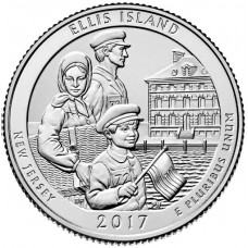 25 центов США 2017 Национальный монумент острова Эллис, 39-й парк