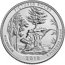 25 центов США 2018 Национальные Озёрные Побережья Живописных Камней, 41-й парк