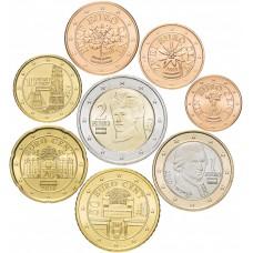 Набор евро монет Австрия 2010-2016 UNC (8 штук)