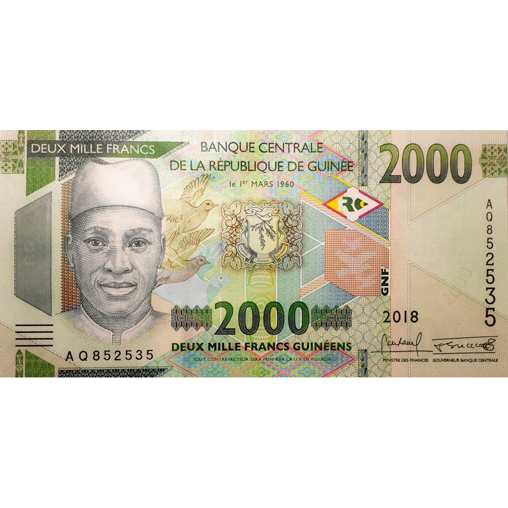 Банкнота Гвинея 2000 Франков 2018 UNC пресс