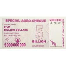 Зимбабве 5 000 000 000 долларов 2008 UNC пресс