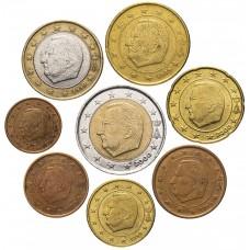 Набор евро монет Бельгия, 8 штук, случайный год