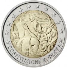 2 Евро 2005 Италия XF.Годовщина принятия конституции ЕС (Евроконституции).