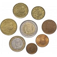 Набор евро монет Испания, случайный год, 8 штук