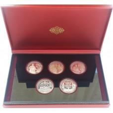 Набор монет 1 рубль 2013 Слуцкие Пояса - Беларусь, 5 монет в коробке, proof