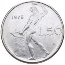 50 лир Италия 1954-1989 годы - Бог Огня Вулкан