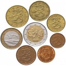 Набор евро монет Финляндия, случайный год, XF, 8 штук