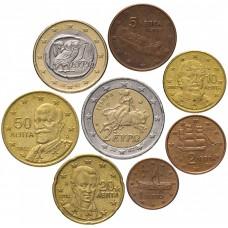 Набор евро монет Греция, случайный год, 8 штук
