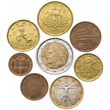 Набор евро монет Италия 2002, 8 штук
