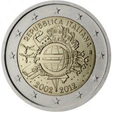 2 Евро 2012 Италия UNC.10 лет наличному обращению евро