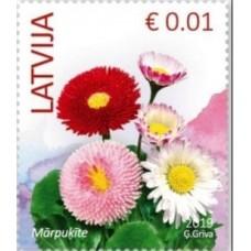 2019 Латвия. Стандартный выпуск. Цветы.Common Daisy (Bellis perennis)