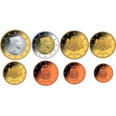 Латвия 2014. Набор Евро монет, все 8 штук. UNC