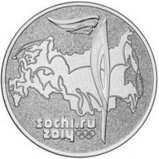 25 рублей Эстафета Олимпийского Огня (Факел) - Олимпиада в Сочи - монета 2014 года