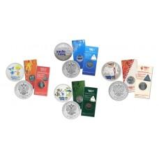 Набор Олимпиада в Сочи 2014 - 4 цветные Олимпийские монеты 25 рублей в блистерах