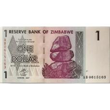 Зимбабве 1 доллар 2007 г. UNC
