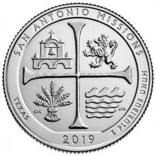 25 центов США 2019 Национальный Парк Миссий  Сан-Антонио. 49-Й ПАРК. Двор D