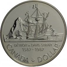 Канада 1 доллар 1987. Корабль-парусник Детройт. Серебро. ПРУФ