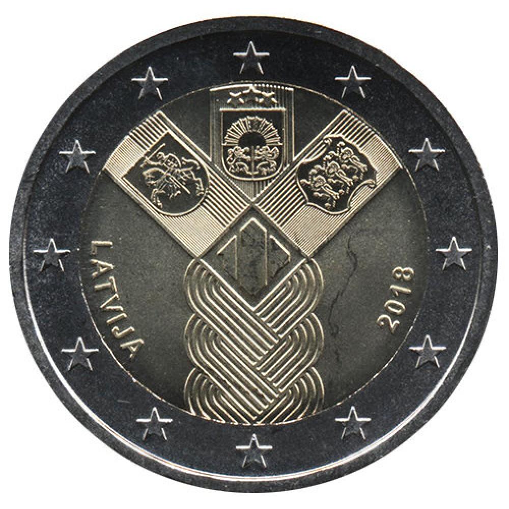 2 Евро 2018 Латвия UNC.100 лет независимости прибалтийских государств