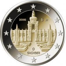 2 Евро 2016 Германия(D) UNC.11-я монета серии «Федеральные земли Германии»: