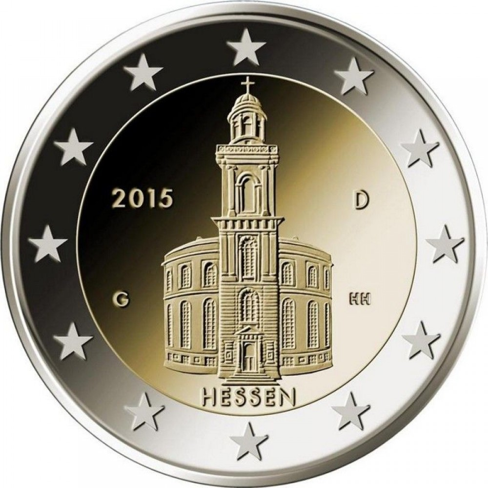 2 Евро 2015 Германия (D) XF.10-я монета серии «Федеральные земли Германии»: Гессен (Церковь Святого Павла во Франкфурт-на-Майне)