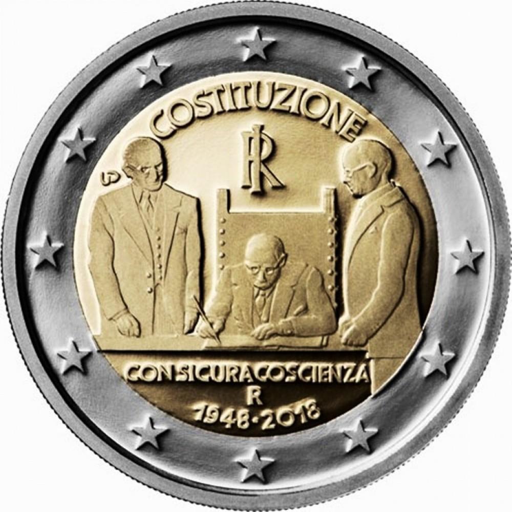 2 Евро 2018 Италия UNC.70 лет принятия Конституции