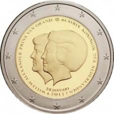 2 Евро 2013 Нидерланды UNC.Объявление королевы Беатрикс о передаче трона наследному принцу Виллему-Александру