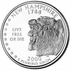 25 центов США 2000 Нью-Гэмпшир