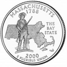 25 центов США 2000 Массачусетс