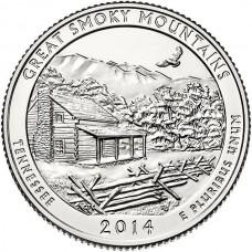 25 центов США 2014 Национальный парк Грейт-Смоки-Маунтинс