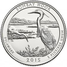 25 центов США 2015 Национальное убежище дикой природы Бомбай-Хук