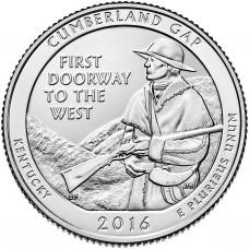 25 центов США 2016 Национальный исторический парк Камберленд-Гэп