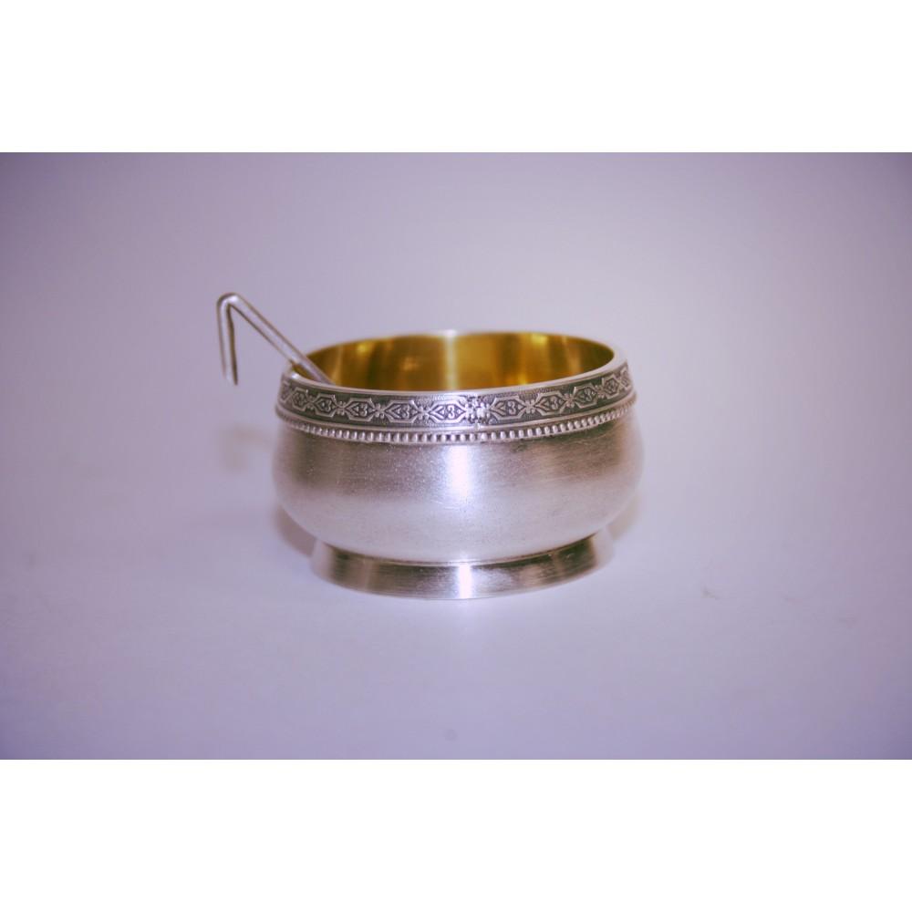 Солонка с ложкой серебряная