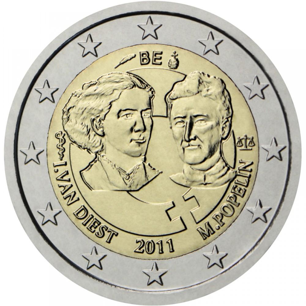 2 Евро 2011 Бельгия XF.100 лет Международному женскому дню