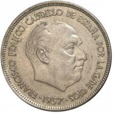 25 песет Испания 1957 года