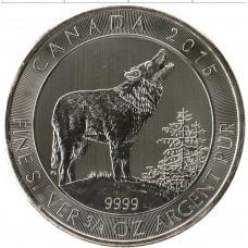 2 доллара 2015 Канада, Серый Волк/Вой волков. Серебро 999